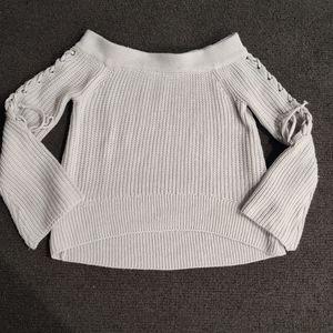 Light gray off shoulder knitwear Top